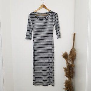Strip Long Dress 3/4 Sleeves Ribbed Stretch